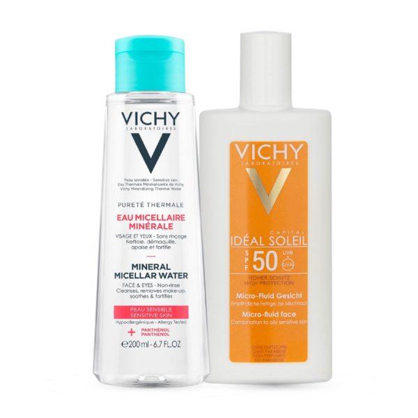 Combo Vichy Purete Thermale Agua Micelar + Ideal Soleil F50 Ultra Fluido.