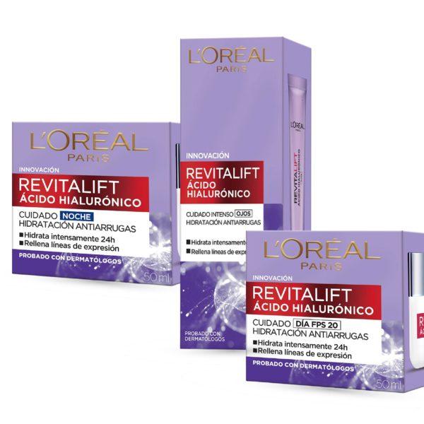 Combo L'Oréal Revitalift Crema Ojos + Crema Revitalift Acido Hialulronico Dia y Noche