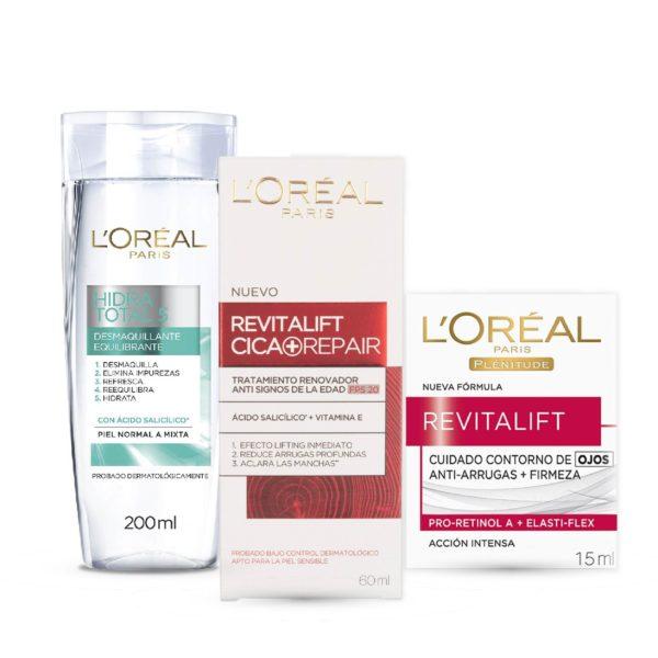 Combo L'Oréal Leche de Limpieza + L'Oréal  Revitalift Cica + L'Oréal Revitalift Ojos