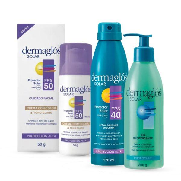 Combo Dermaglós Post Solar en Gel + Solar Spray F40 + Solar Facial F50